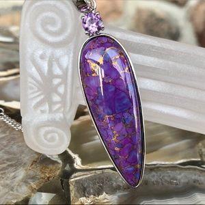 50x16mm Purple Mohave Turquoise & Amethyst Pendant